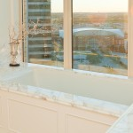 View of the American Airlines Arena from the guest bathroom designed by Connie Howe