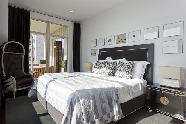 Here's the master bedroom designed by Ann Sutherland for the Residences at Ritz Carlton's showcase residence series
