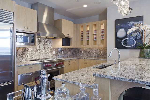 Featuring stainless steel appliances, the kitchen is a wonder to behold.