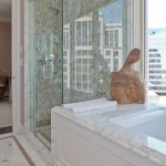 A view of the bathroom in the Jean Liu showcase residence, featuring a statue.