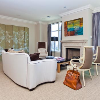 Living room designed by Jean Liu for The Residences Towers in Dallas.